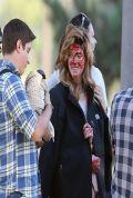 Ashley Greene and Anton Yelchin  on the Set of BURYNG THE EX